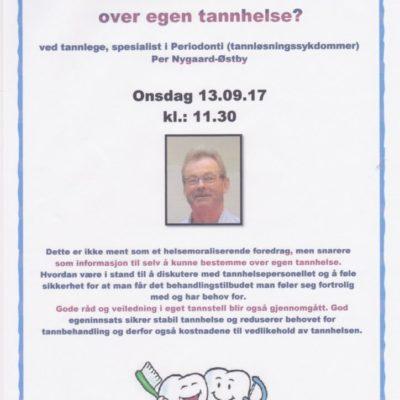 """Foredrag om """"Hvordan beholde kontrollen over egen tannhelse"""" - Plakat"""